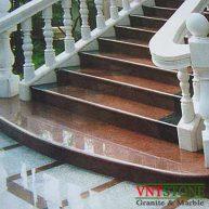 Cầu thang ốp đá granite đỏ Ruby Ấn Độ