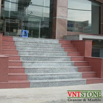 Bậc cầu thang đá granite Trắng Suối Lau Đỏ Bình Định
