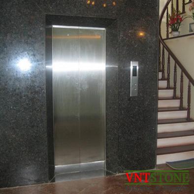 Ốp tường đá tự nhiên - Đá granite Kim Sa ốp mặt thang máy